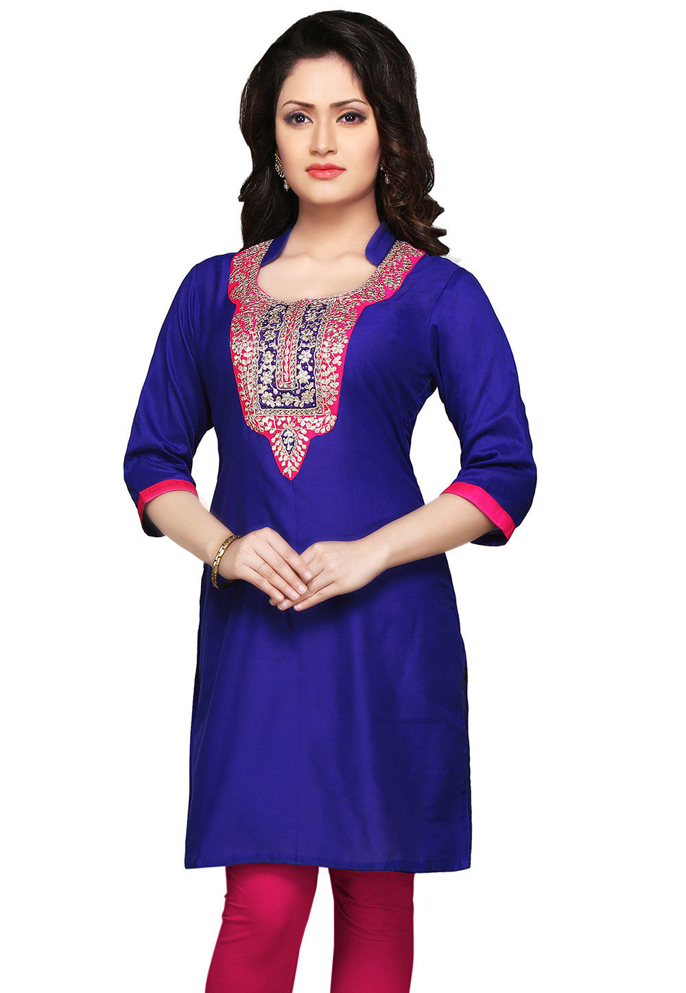 Embroidered Gotapatti Silk Kurti In Royal Blue