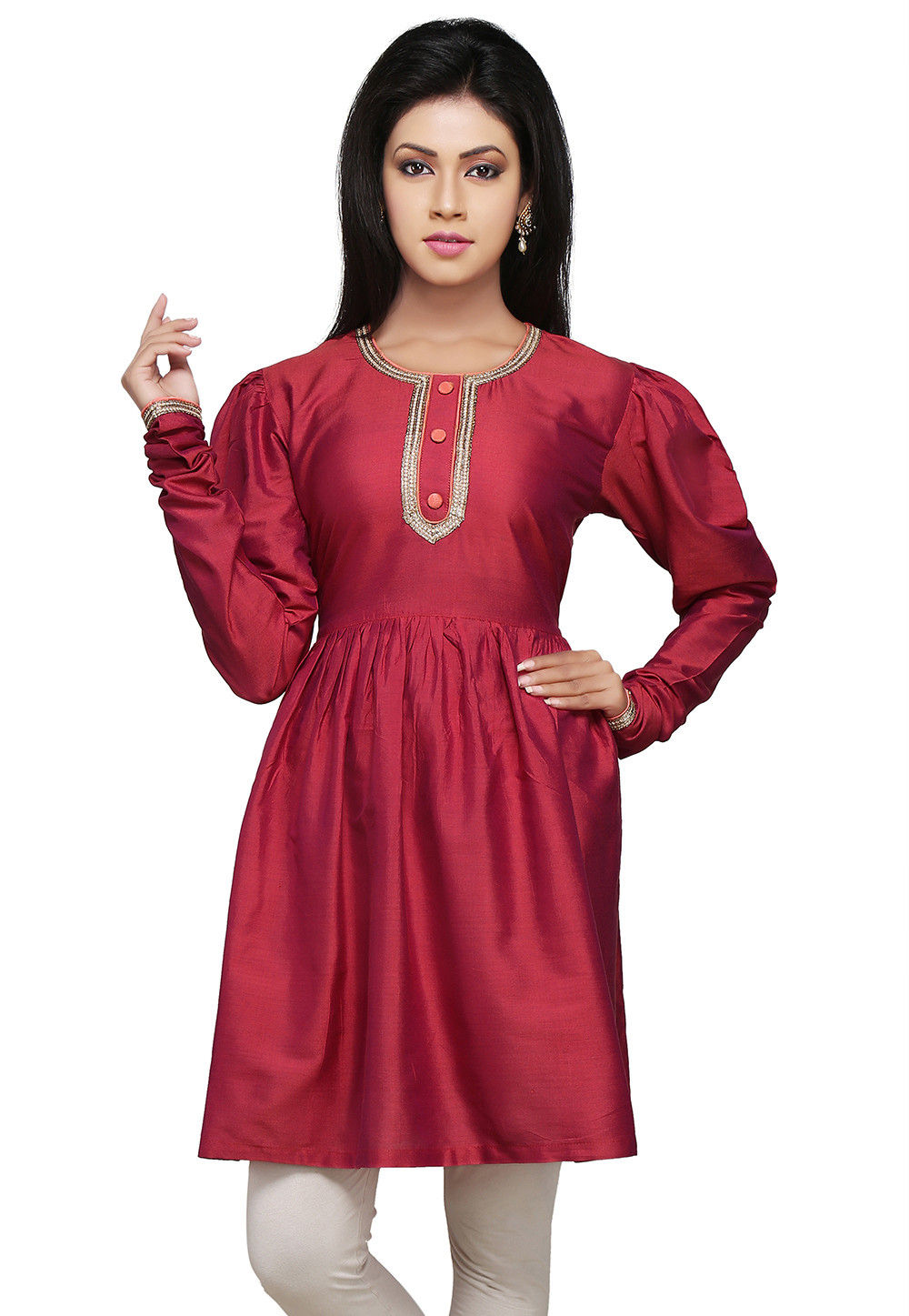 Plain Cotton Silk Tunic In Red