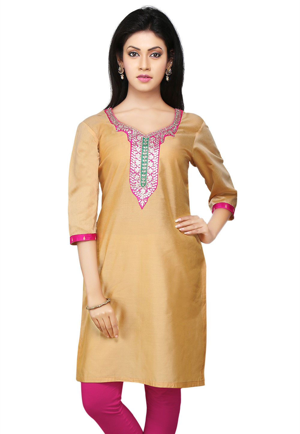 Gota patti Embroidered Cotton Silk Kurti in Beige