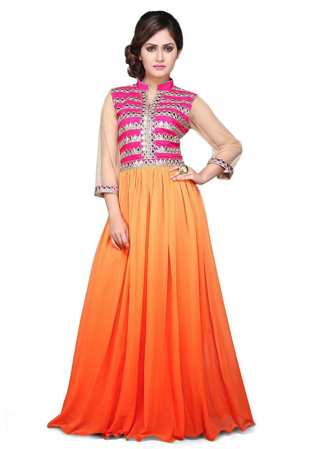 Embroidered Georgette Gown in Orange Ombre and Fuchsia