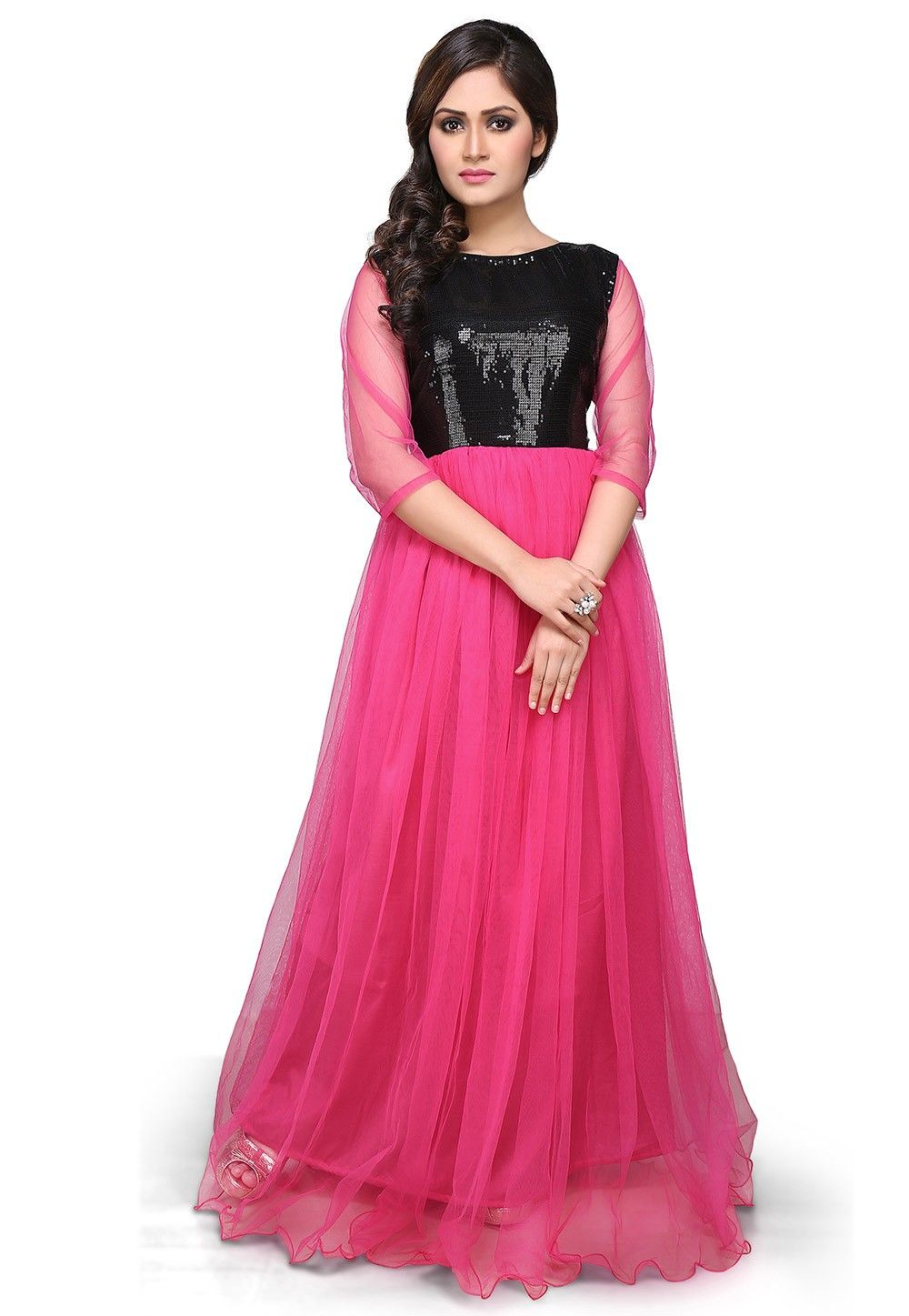 Embroidered Net and Dupion Gown In Fuchsia and Black