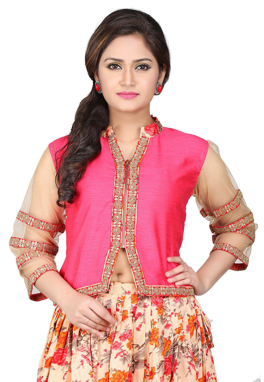 Embroidered Dupion Art Silk Crop Top in Fuchsia