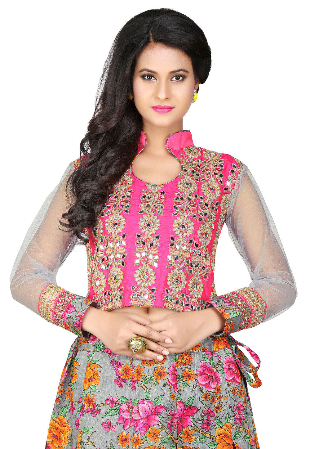 Embroidered Art Dupion Silk and Net Crop Top in Fuchsia