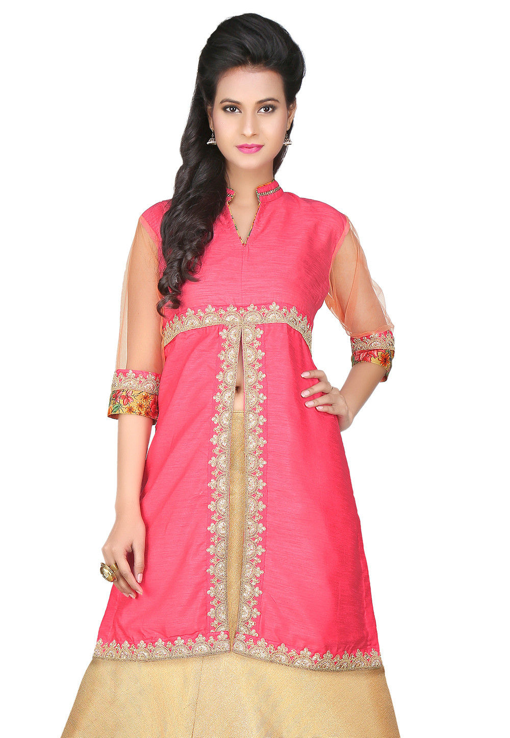 Embroidered Dupion Art Silk Kurti in Pink