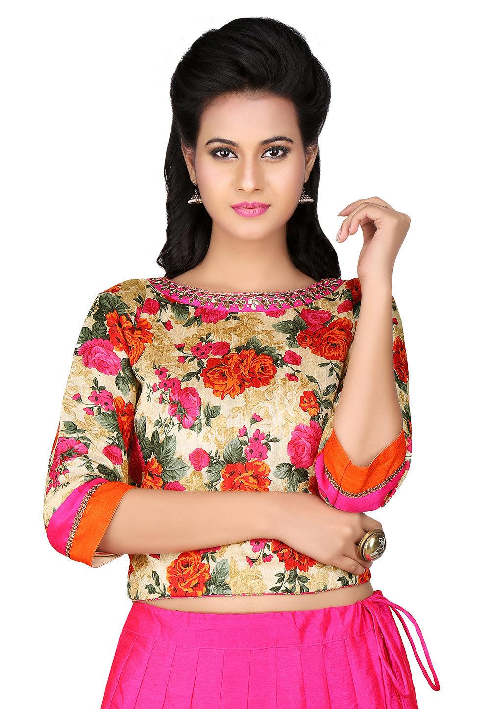 Printed Bhagalpuri Art Silk Crop Top in Beige