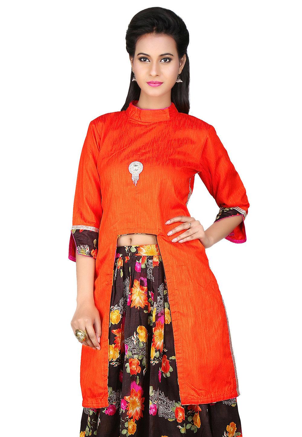 Plain Dupion Art Silk Tunic in Orange