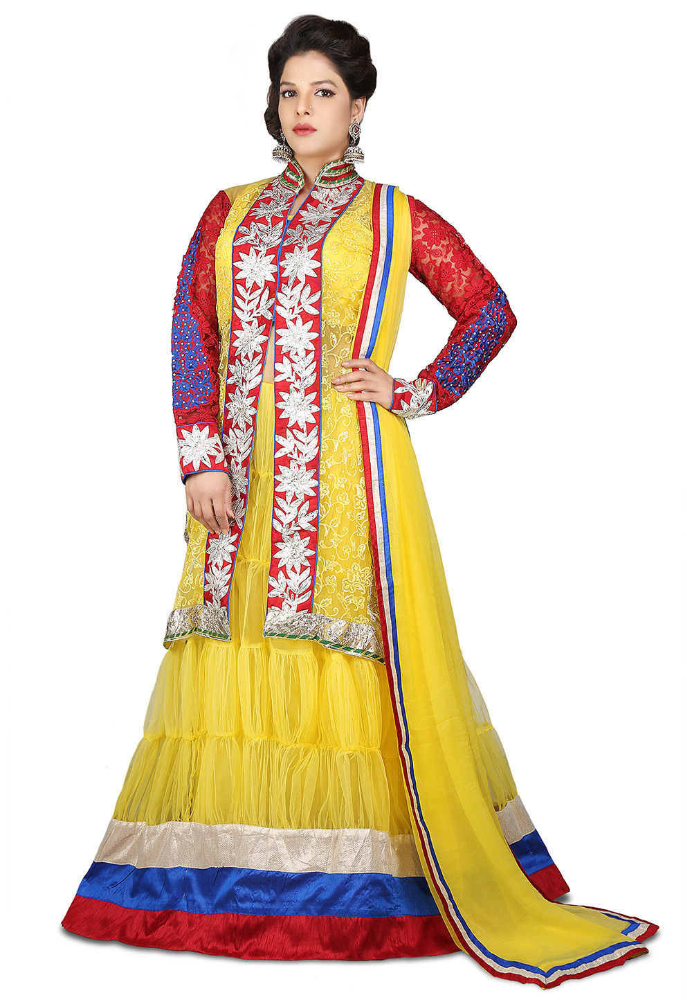 Embroidered Jacket Style Net Gown Set in Yellow