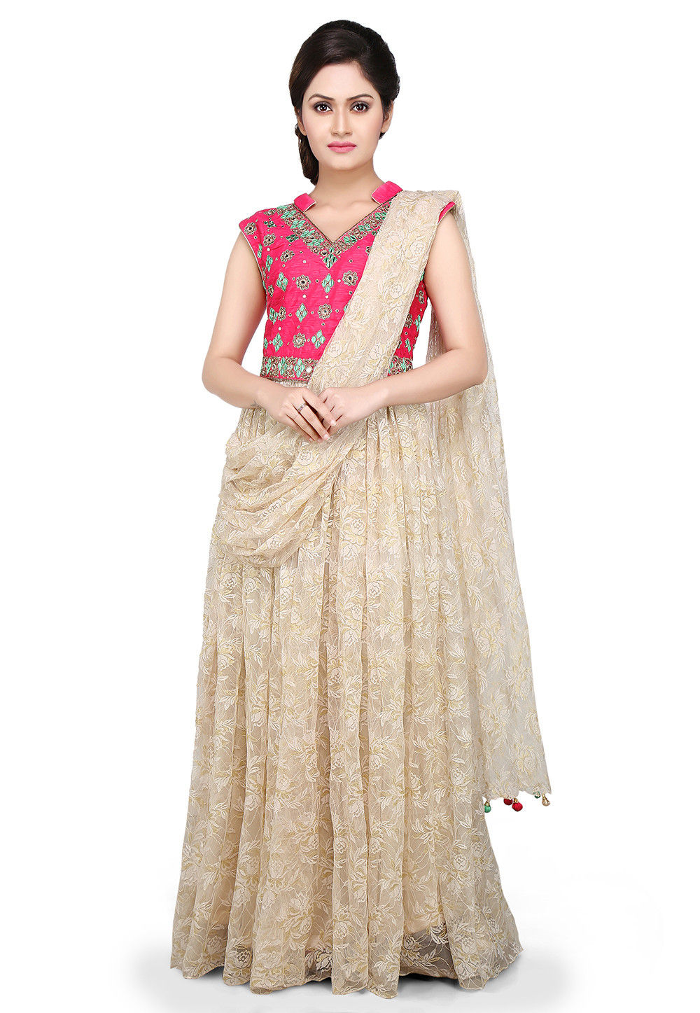 Hand Embroidered Net Pleated Saree Style Gown in Off White and Fuchsia