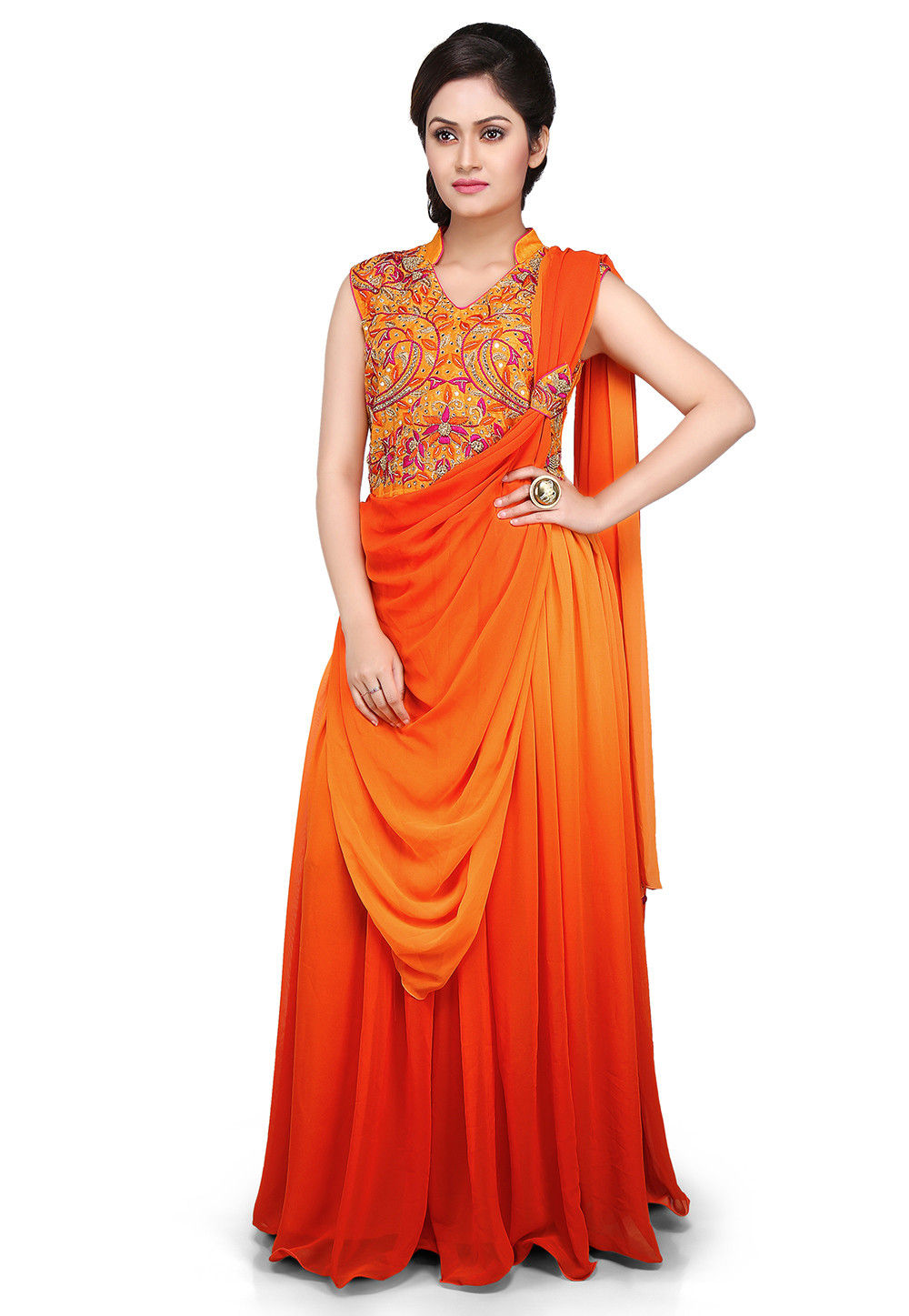 Hand Embroidered Georgette Saree Style Gown In Orange And Mustard Tjw284