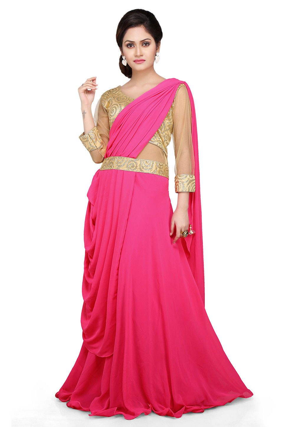 Embroidered georgette pleated saree style gown in pink tjw286 Style me pink fashion show