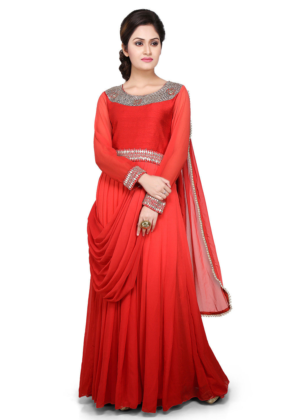 Embroidered Georgette Pleated Saree Style Gown in Red