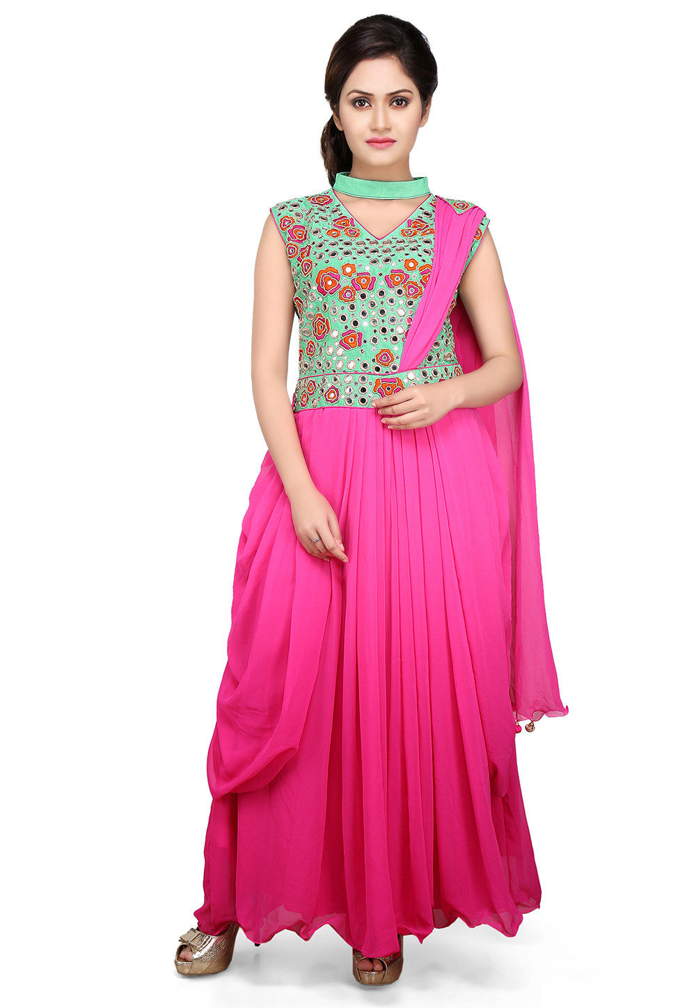 Embroidered Georgette Pleated Saree Style Gown in Pink and Teal Green