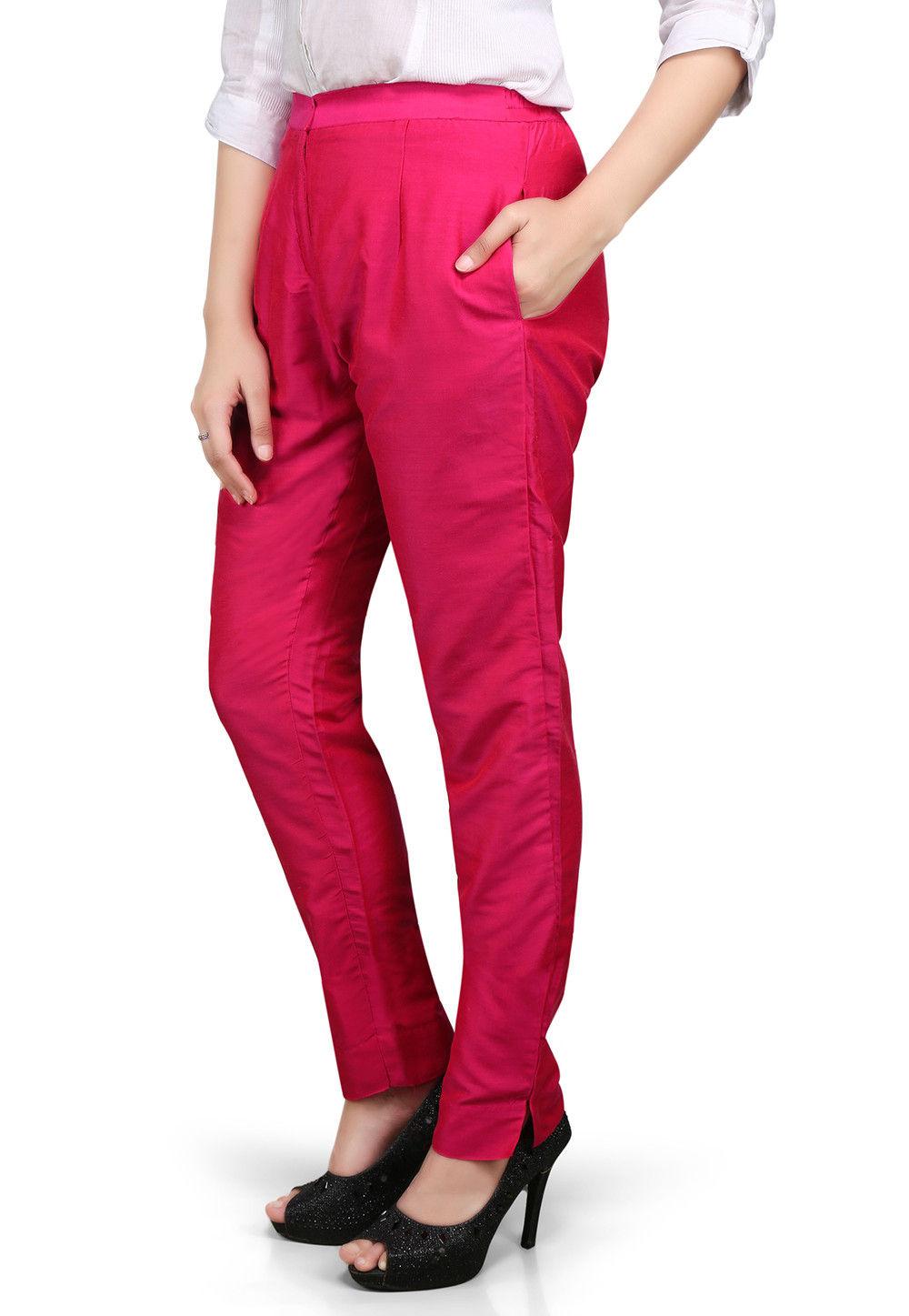 Plain Cotton Silk Pant in Fuchsia