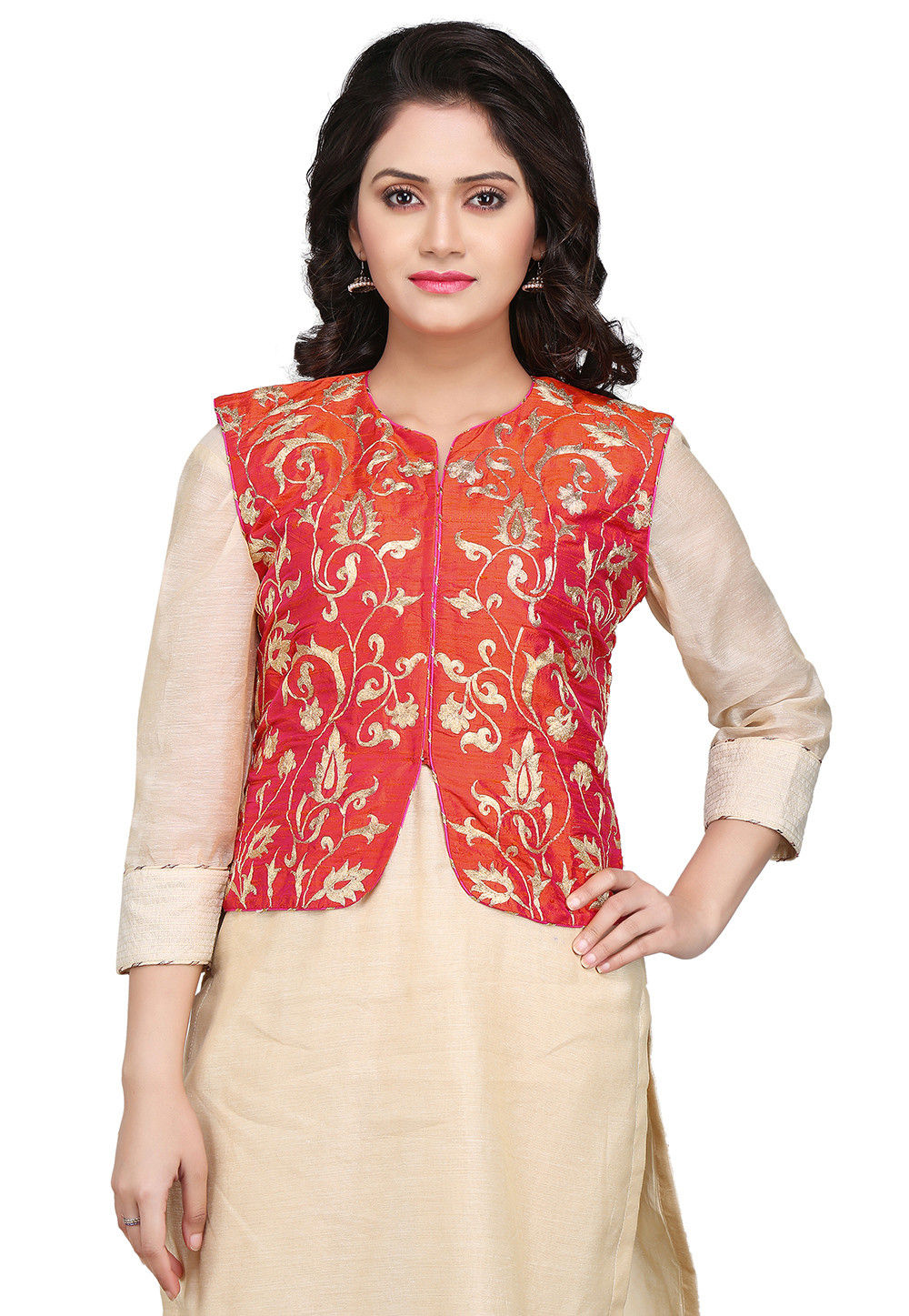 Embroidered Dupion Silk Jacket in Red