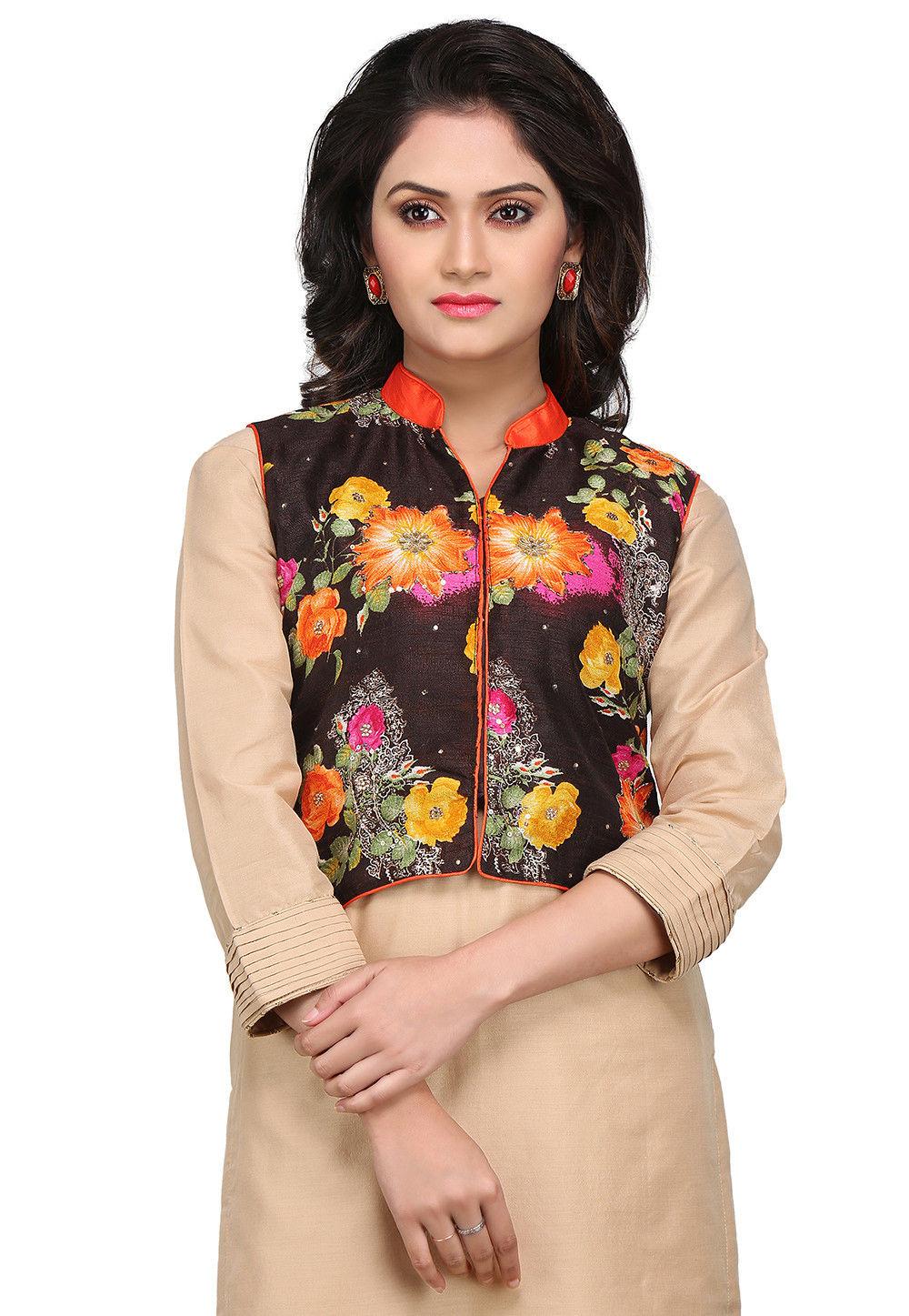 Printed Bhagalpuri Silk Jacket in Dark Brown