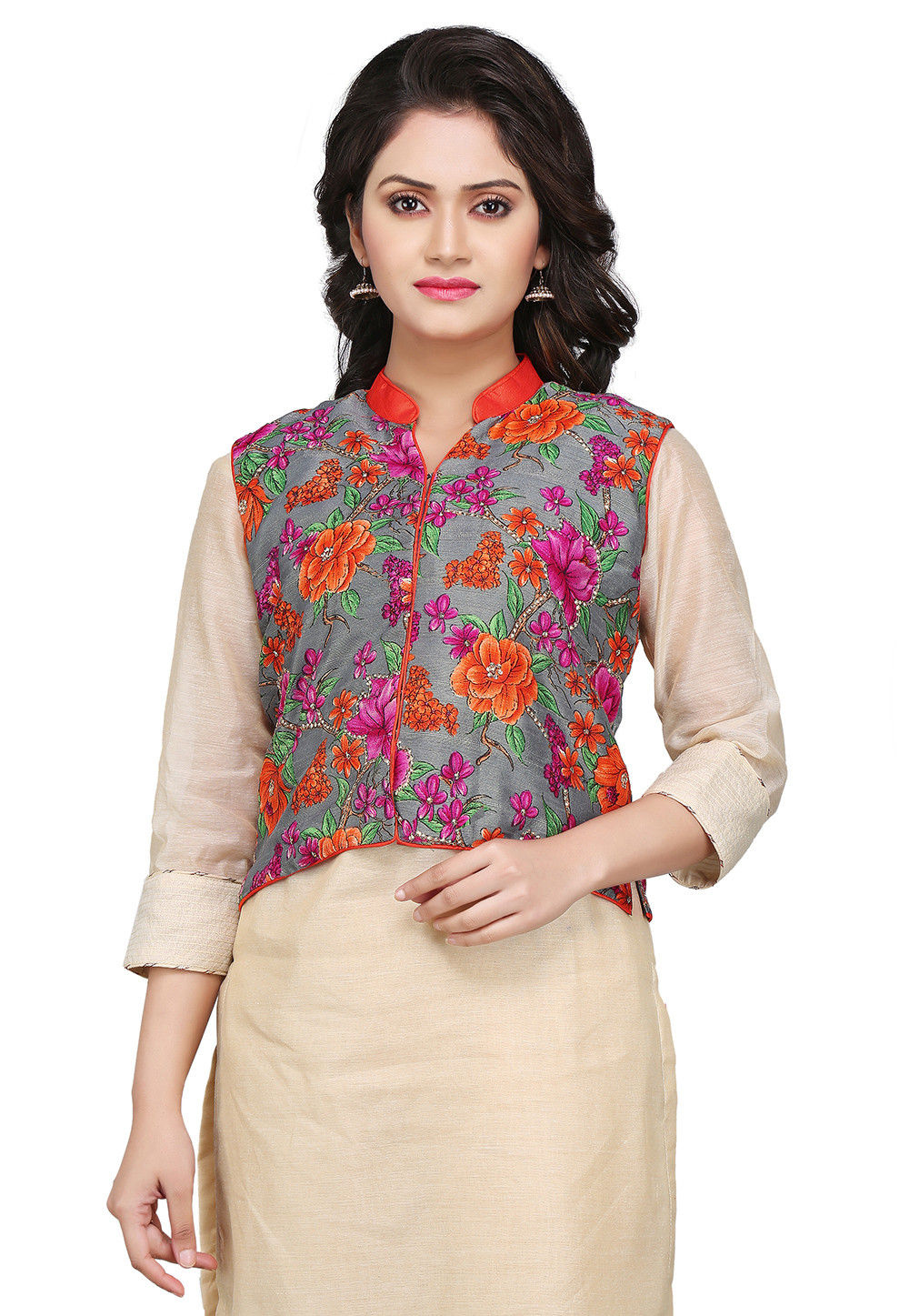 Printed Bhagalpuri Silk Jacket in Grey