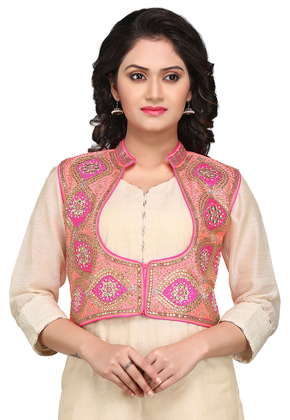 Gota Patti Embroidered Dupion Silk Jacket in Pink