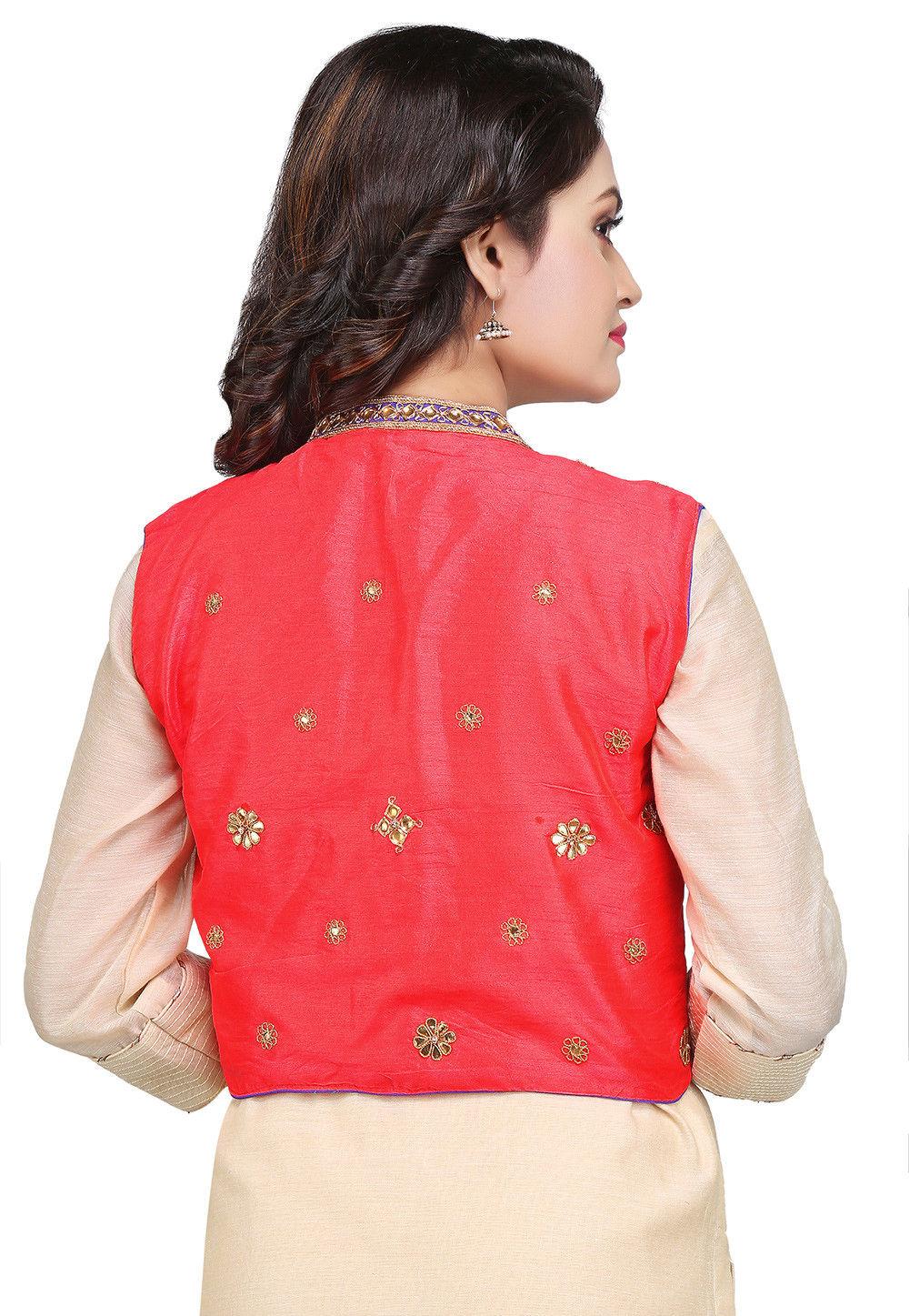 Gota patti art dupion jacket in coral red tjw