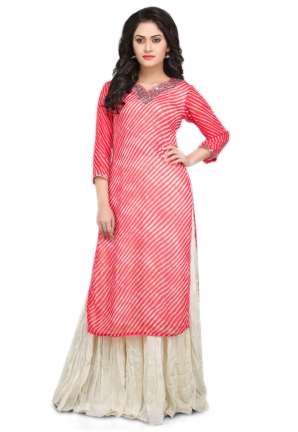 Leheriya Georgette Kurta Set in Coral and White