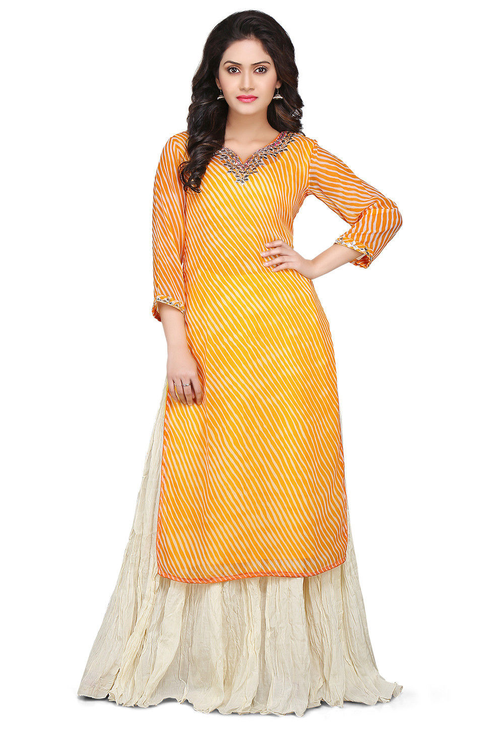Leheriya Georgette Kurta Set in Yellow