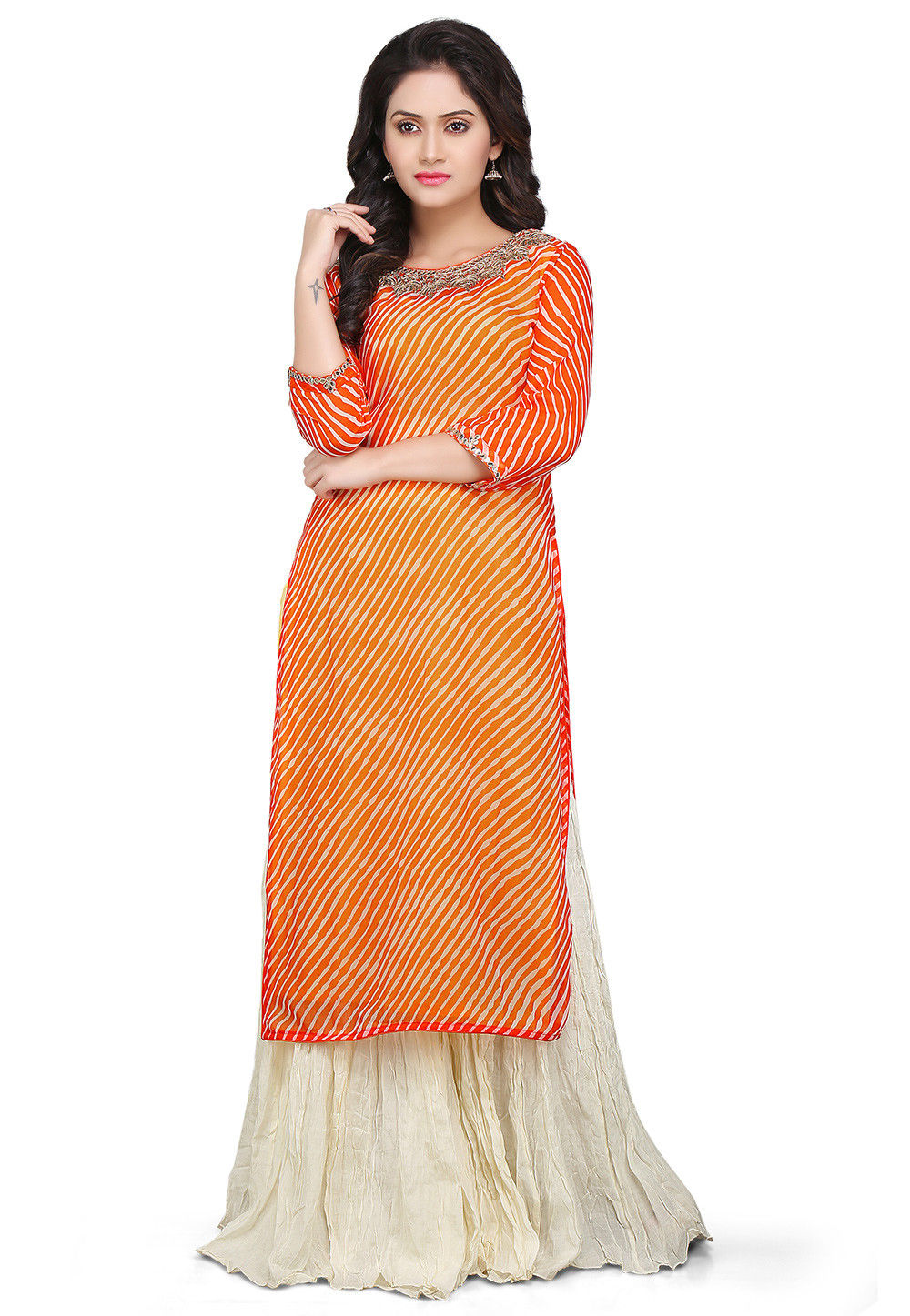 Lehariya Georgette Kurta Set in Orange and Off White