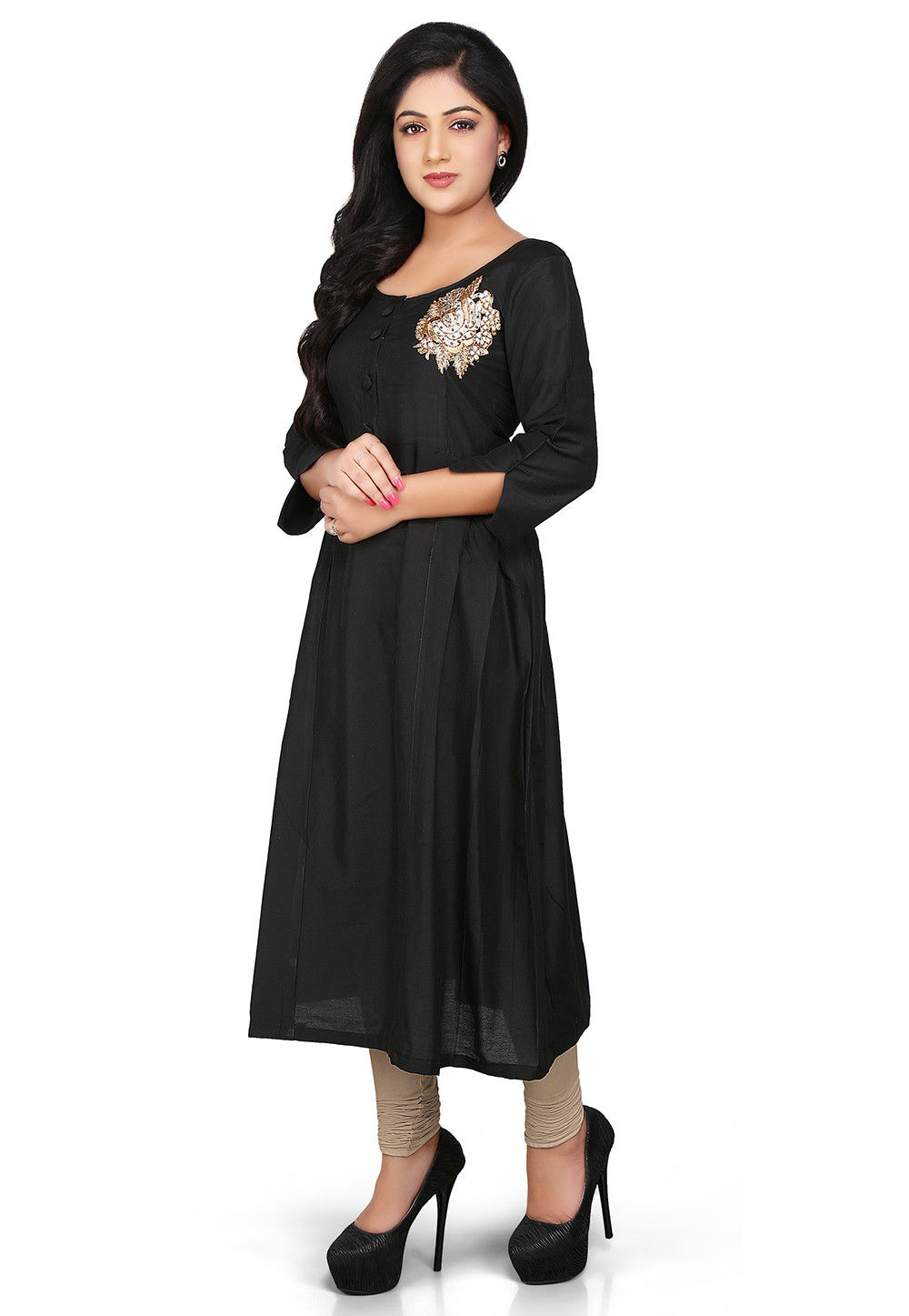 Plain Cotton Silk Long Kurta in Black