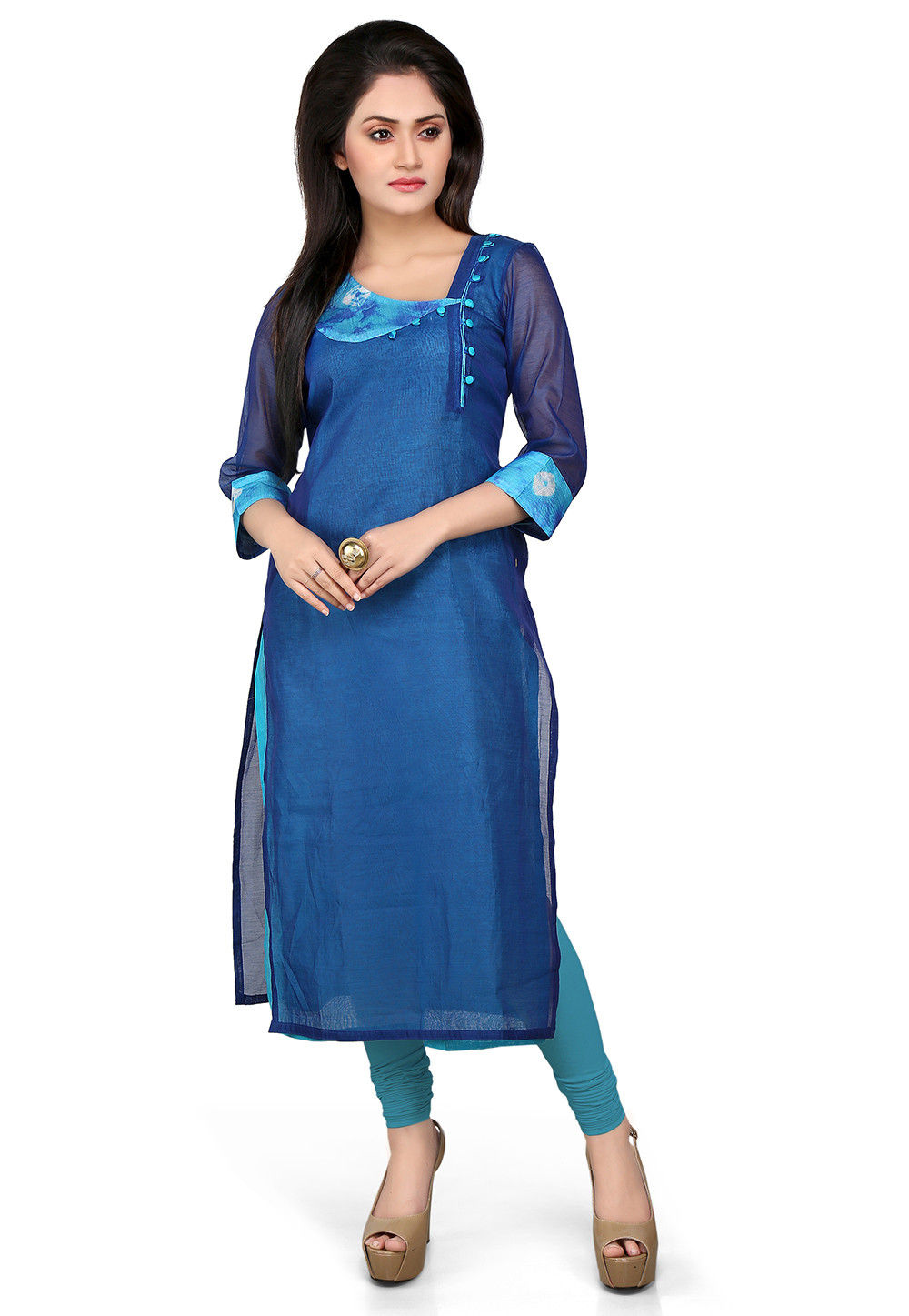 Plain Cotton Chanderi Long Kurta in Blue