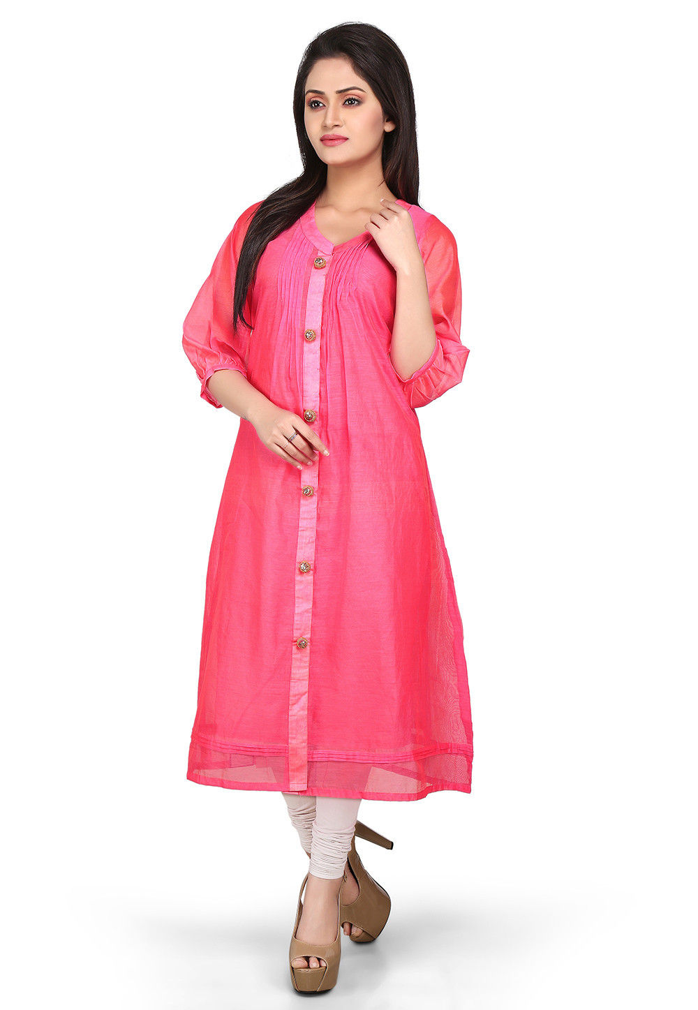Plain Cotton Chanderi Long Kurta in Pink