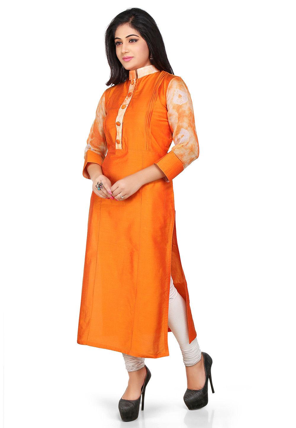 Plain Cotton Chanderi Long Kurta in Orange