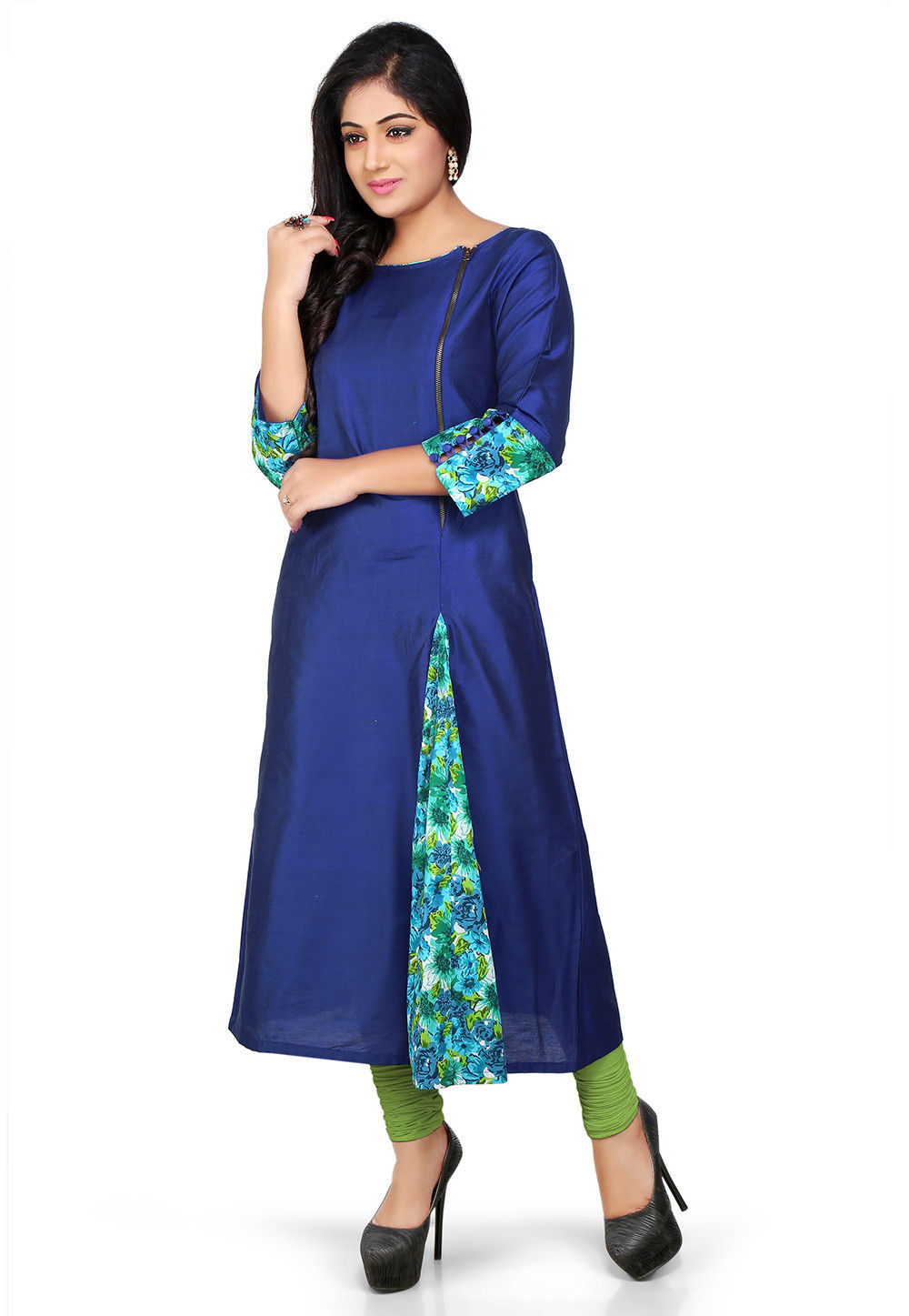 Plain Cotton Silk Long Kurta in Blue