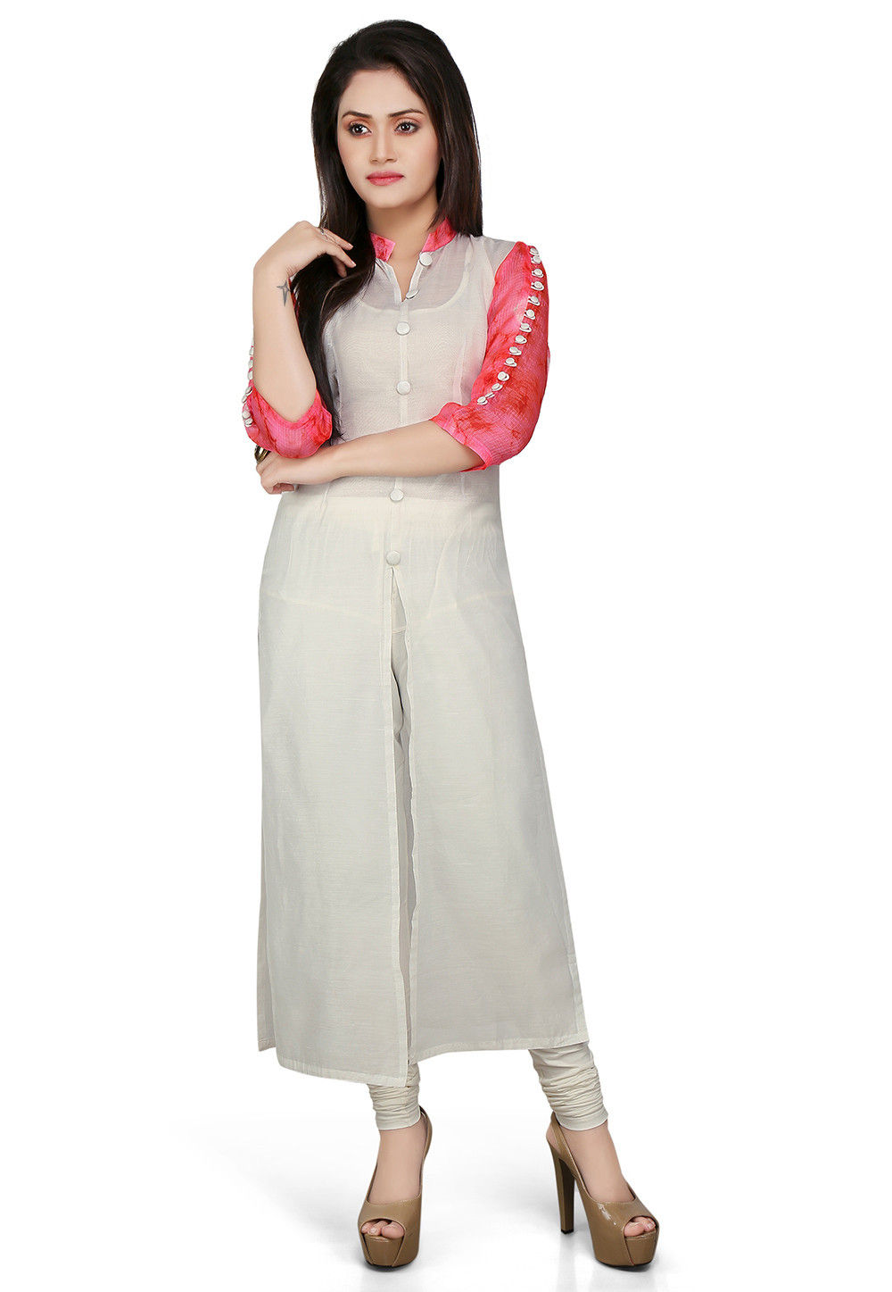 Plain Cotton Chanderi Long Kurta in Off White and Pink