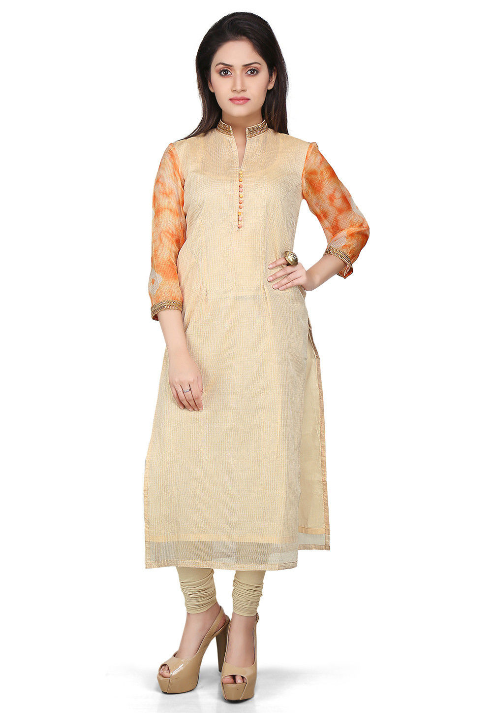 Pure Kota Silk Long Kurta in Beige