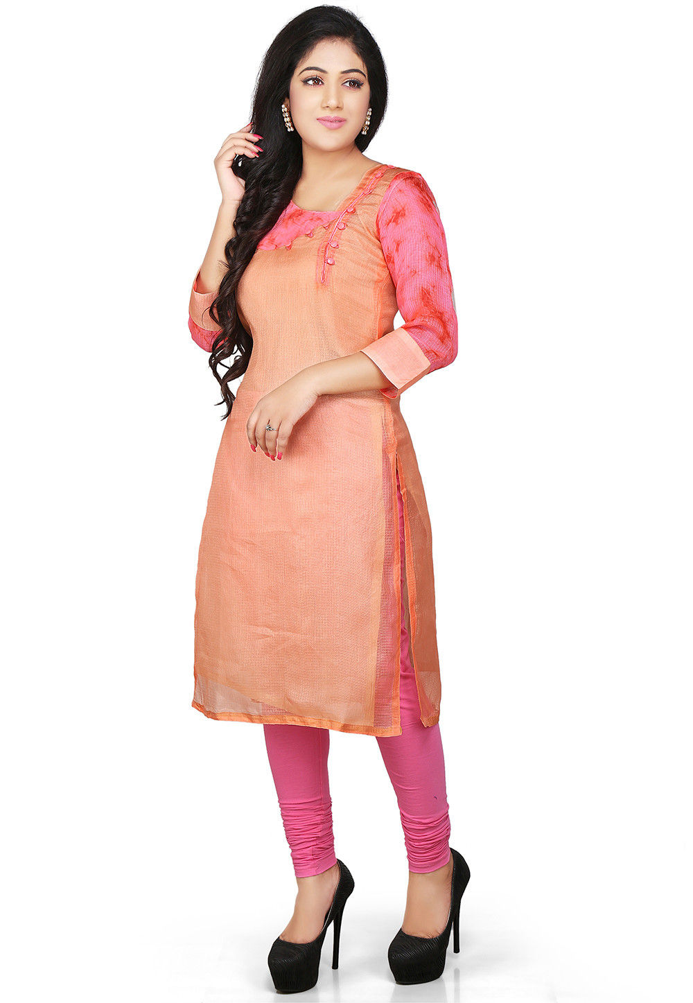 Pure Kota Silk Kurta in Peach