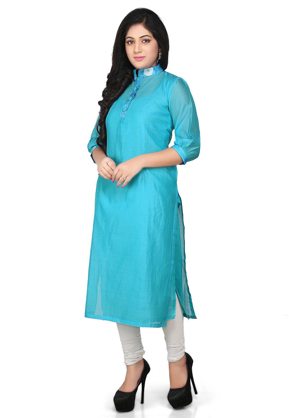 Plain Cotton Chanderi Long Kurta in Turquoise