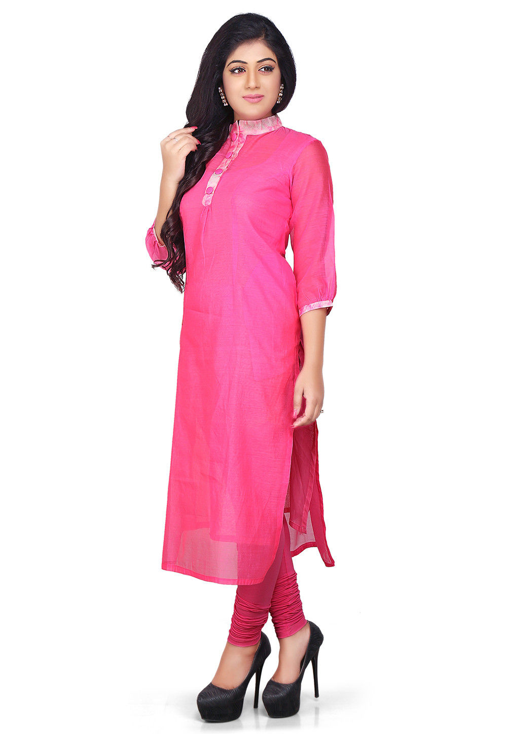 Plain Cotton Chanderi Long Kurta in Fuchsia