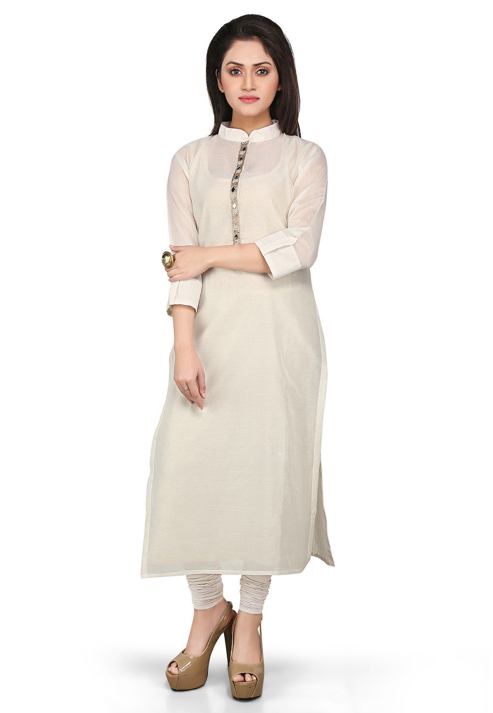 Plain Cotton Chanderi Long Kurta in Off White