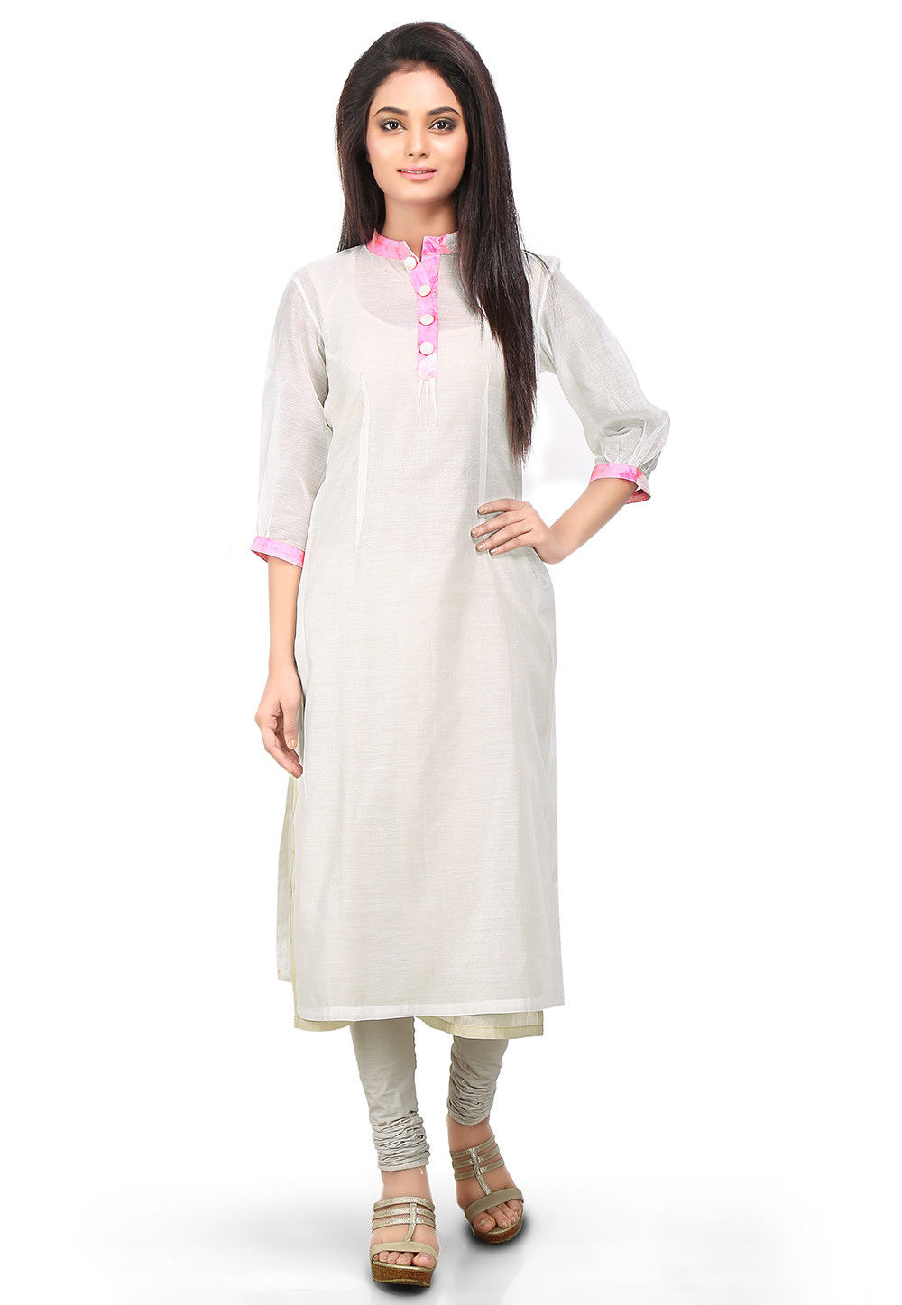 Plain Cotton Chanderi Long Kurta in White