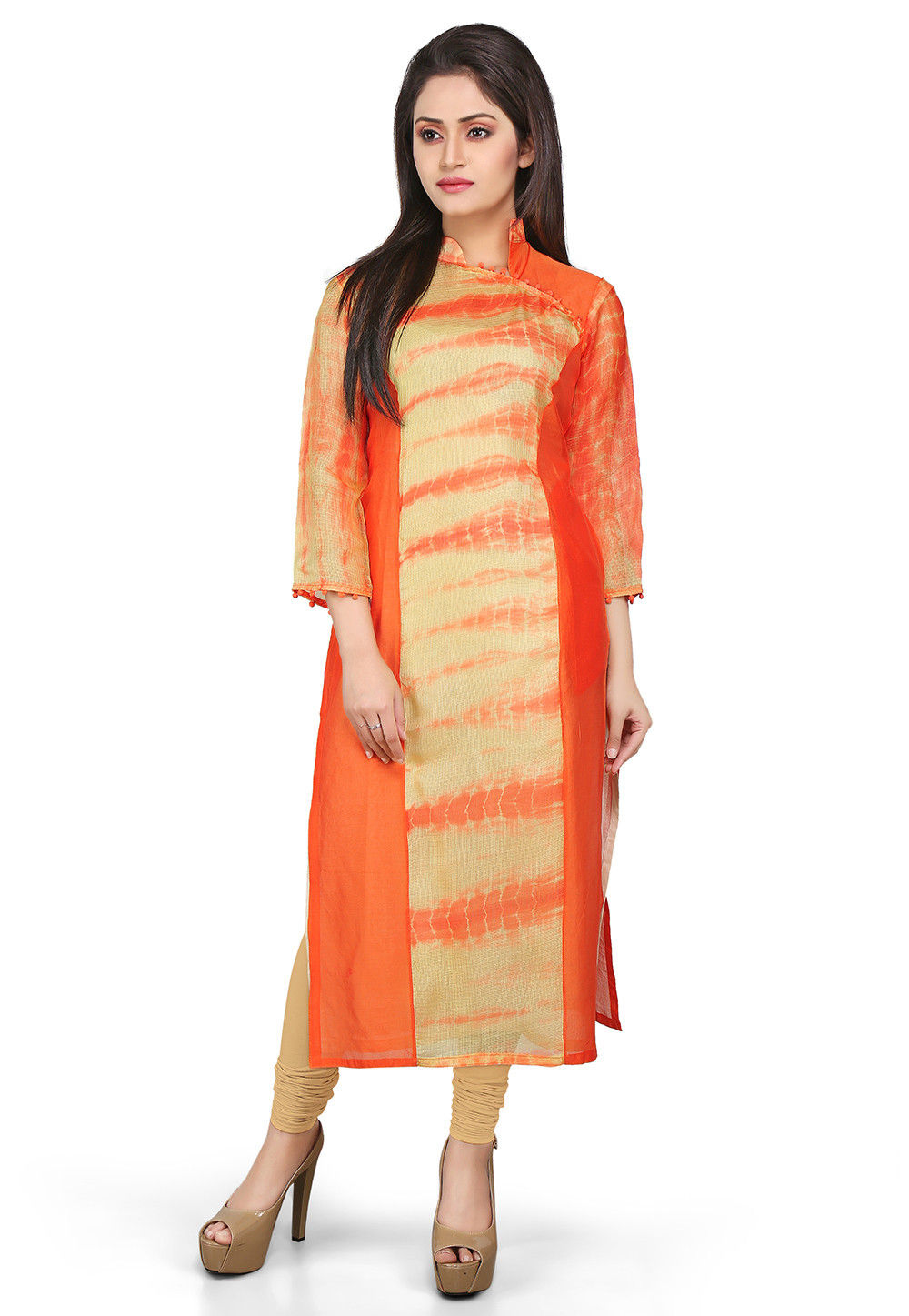 Pure Kota Silk Angrakha Style Long Kurta in Orange