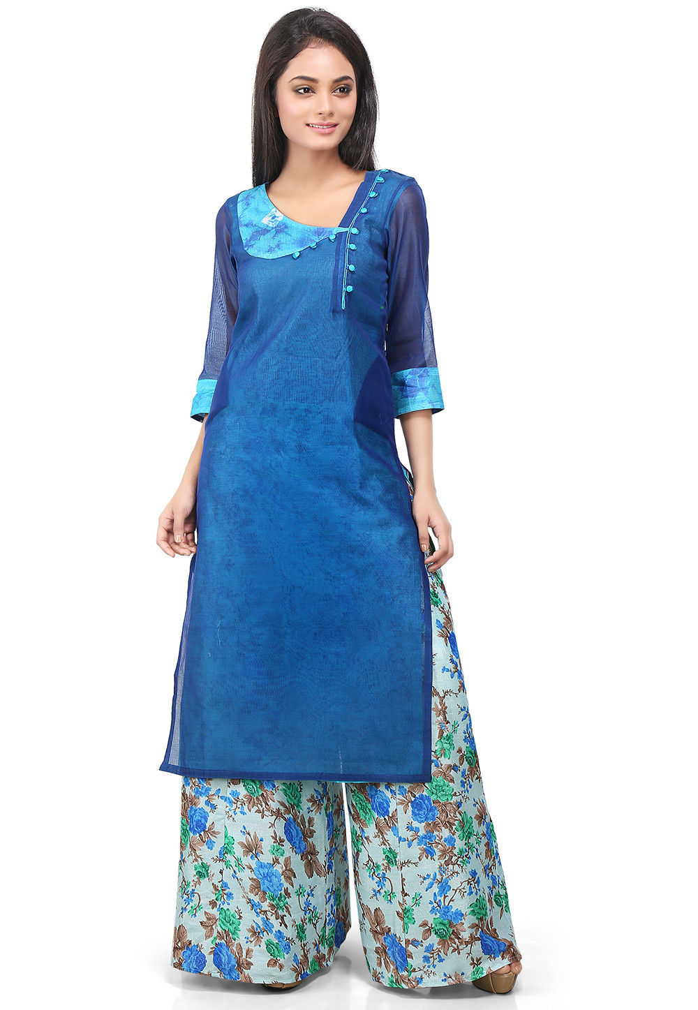 Plain Cotton Chanderi Kurta Set in Blue