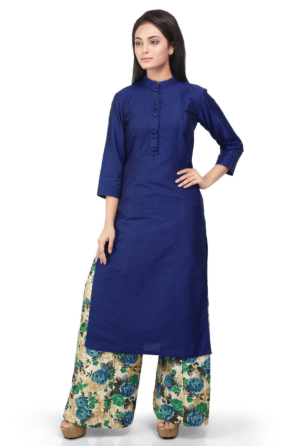 Plain Cotton Silk Kurta Set in Blue