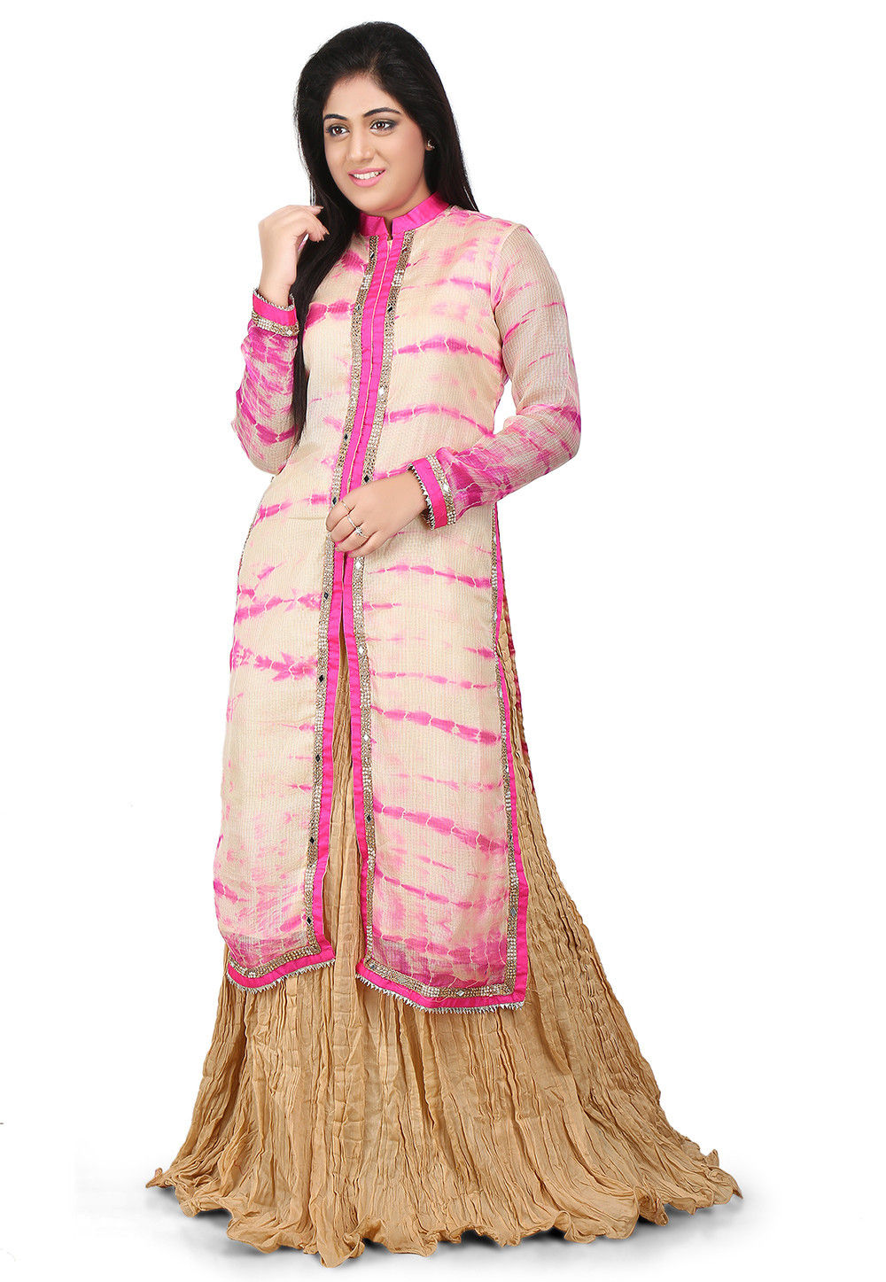 Printed Pure Kota Silk Kurta Set in Cream