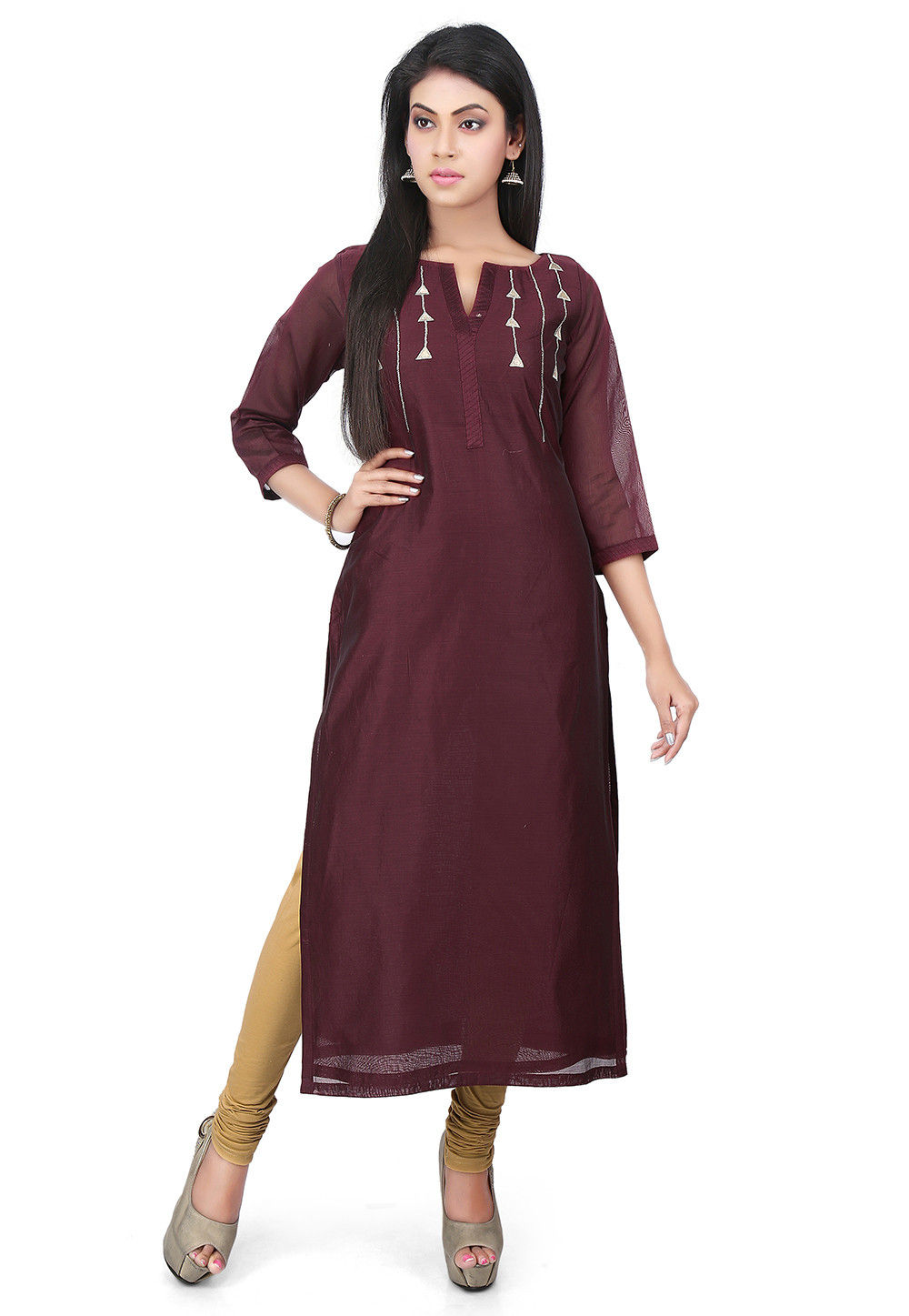 Embroidered Chanderi Cotton Long Kurta in Wine