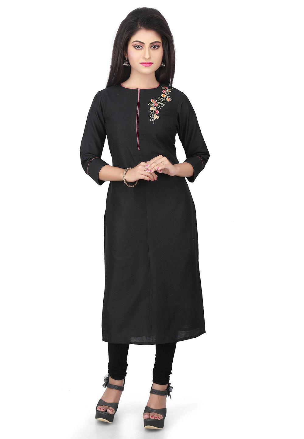 Plain Cotton Silk Long Kurta in Black