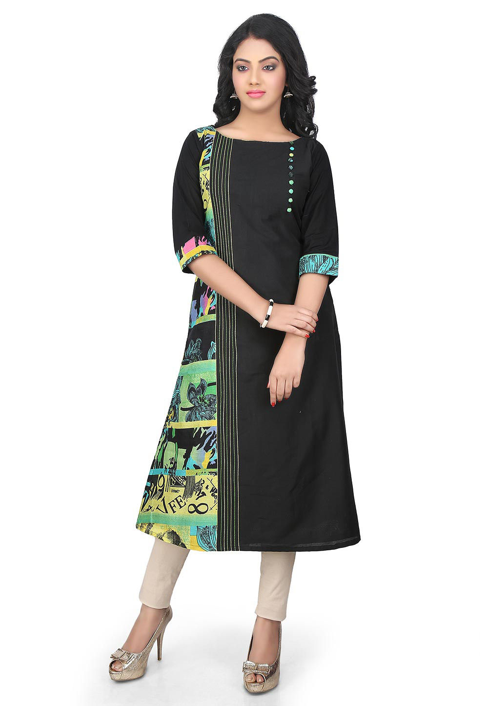 Printed Cotton Silk Long Kurta in Black