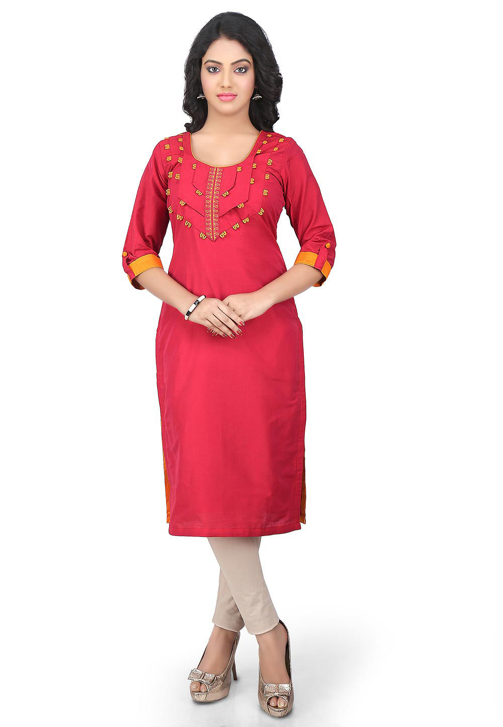 Plain Cotton Silk Long kurta in Red