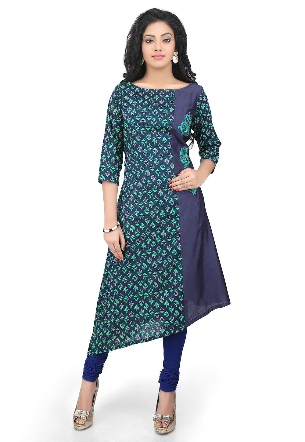 Printed Cotton and Cotton Silk Asymmetric Long Kurta in Blue