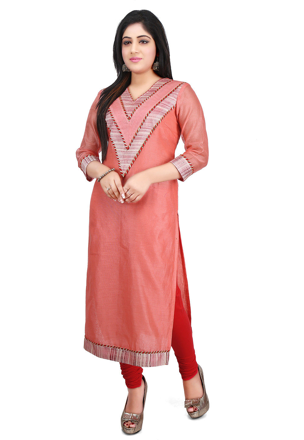 Brush Painted Chanderi Cotton Long Kurta in Peach