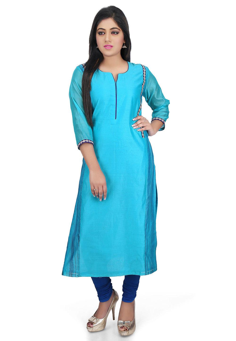Plain Chanderi Cotton Long Kurta in Teal Blue