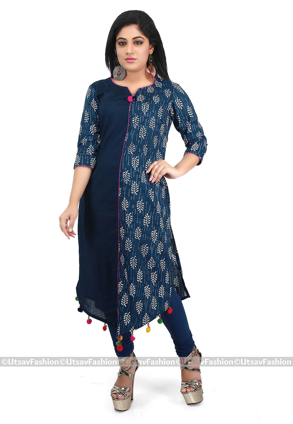 Dabu Cotton Long Kurta in Indigo Blue