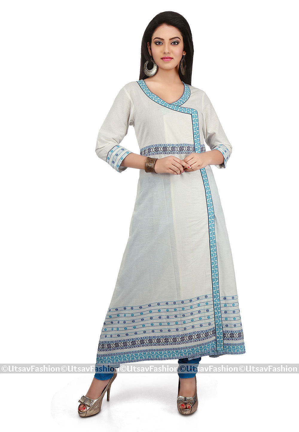 Printed Cotton Angrakha Style Long Kurta in Off White